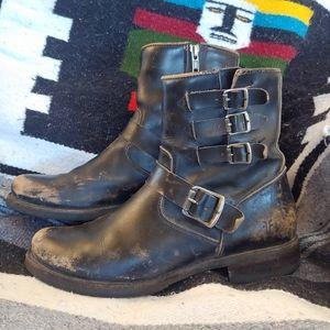 Frye black distressed moto boot's size 9 1/2